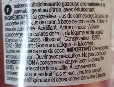 Diet Sparkling Pink Cranberry Lemonade - Ingrédients - fr