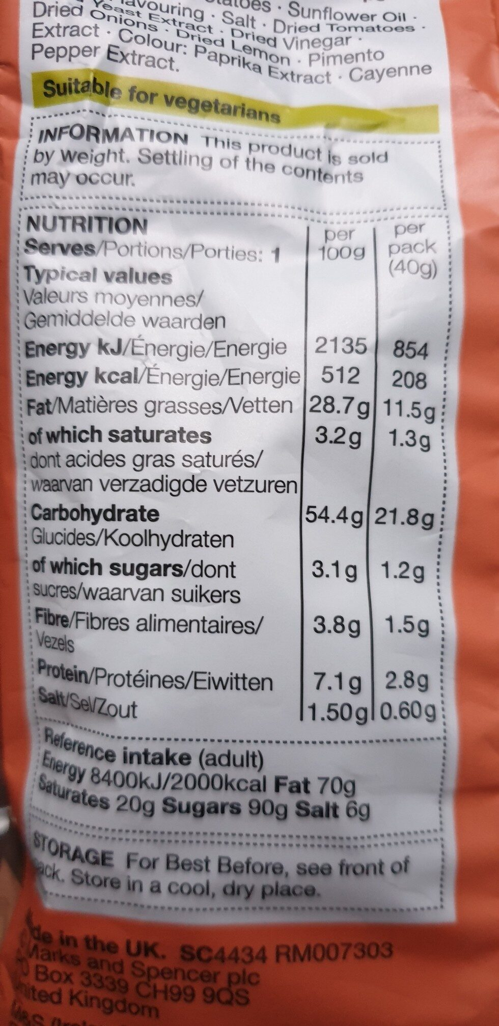 Prawn Cocktail Hand Cooked Crisps - Nutrition facts - en