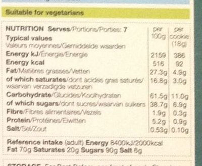Belgian Dark Chocolate & Stem Ginger Cookiers - Nutrition facts