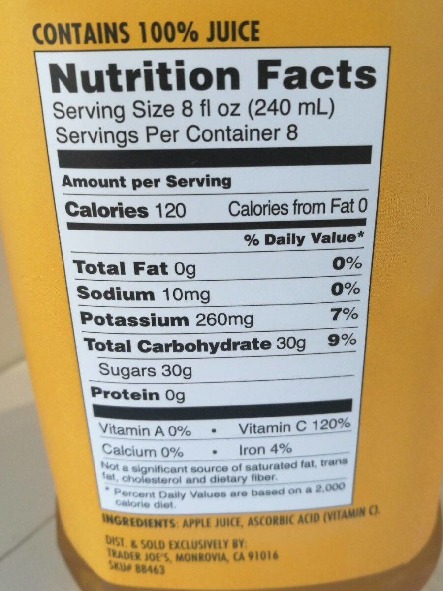 Fresh presses apple juice - Nutrition facts