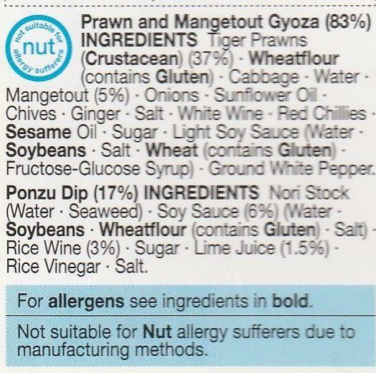 Prawn & Mangetout Gyoza with a Ponzu Dip - Ingredients