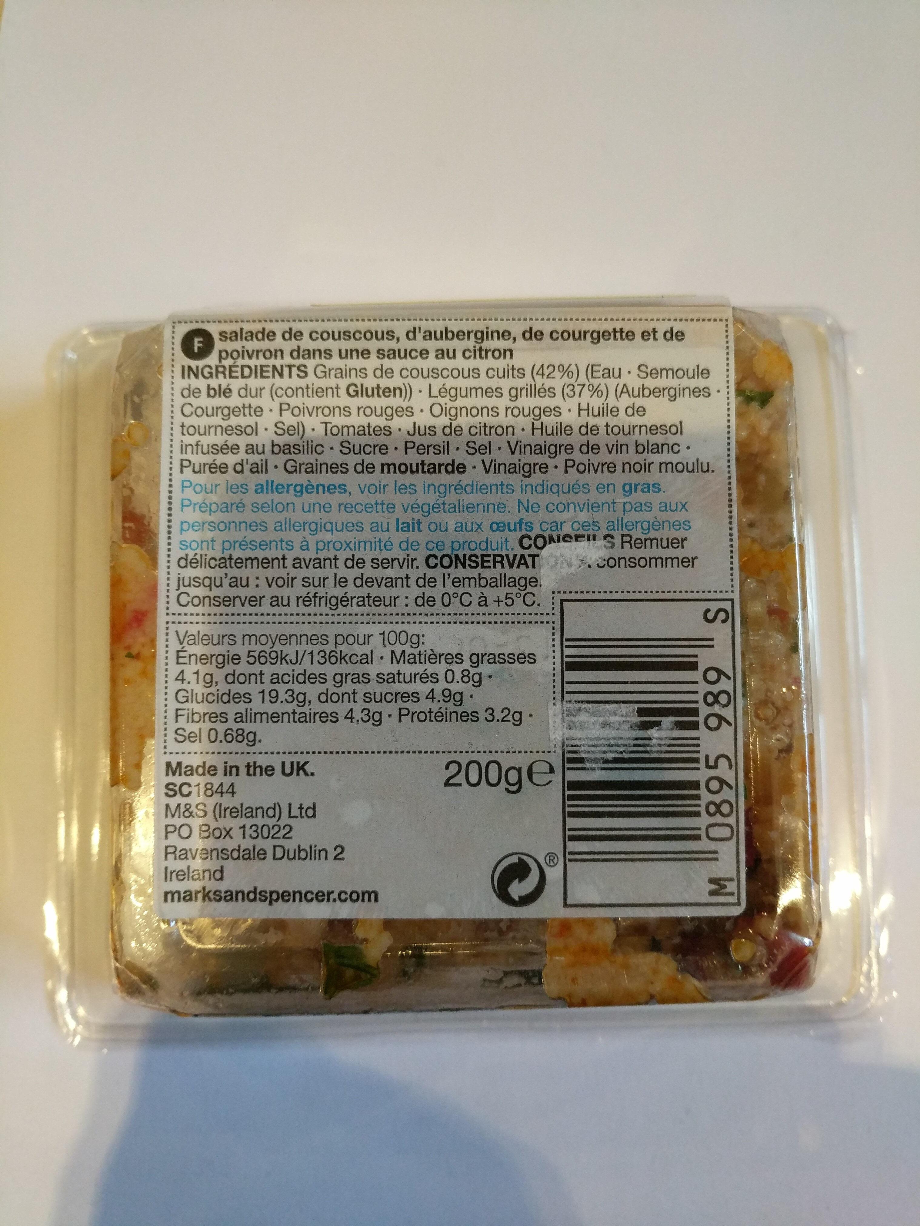 Salade Couscous Et Legumes Grilles - Ingrédients