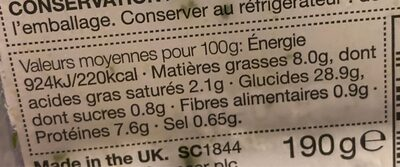 Pâtes épinards et pignons de pin - Nutrition facts