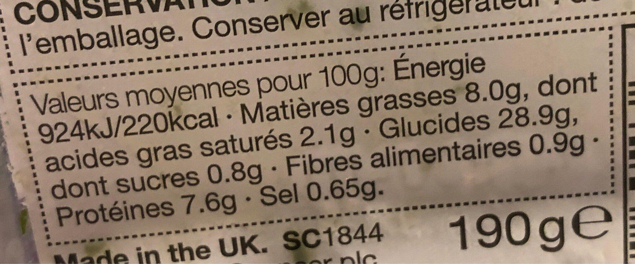 Pâtes épinards et pignons de pin - Nutrition facts - fr