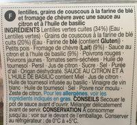 Lentille semoule de couscous geante et fromage de chevre - Ingrédients