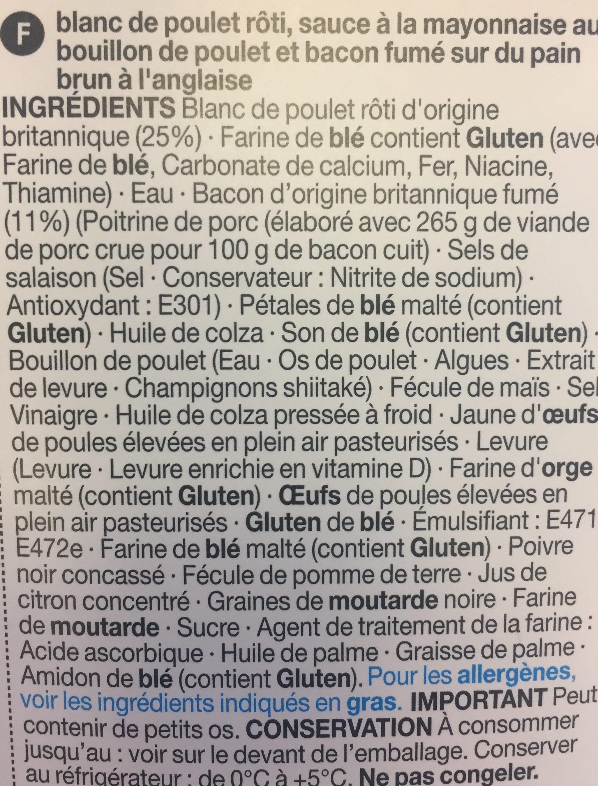 Sandwich Poulet Rôti & Bacon sur du Pain Spécial - Ingredients