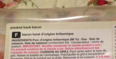 British Smoked Back Bacon - Ingredients