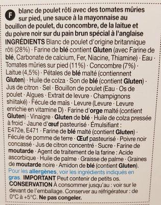 Poulet Rôti et Salade sur Pain Spécial - Ingrédients