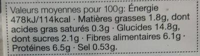 Salade Trois Haricots - Пищевая и энергетическая ценность - fr
