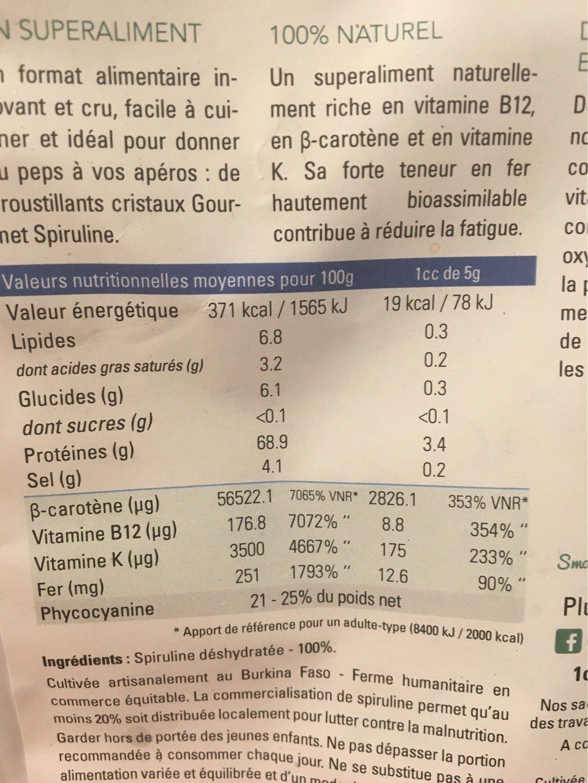 Santé & Bien-être / Résistance Et Vitalité / Spiruline - Informations nutritionnelles - fr