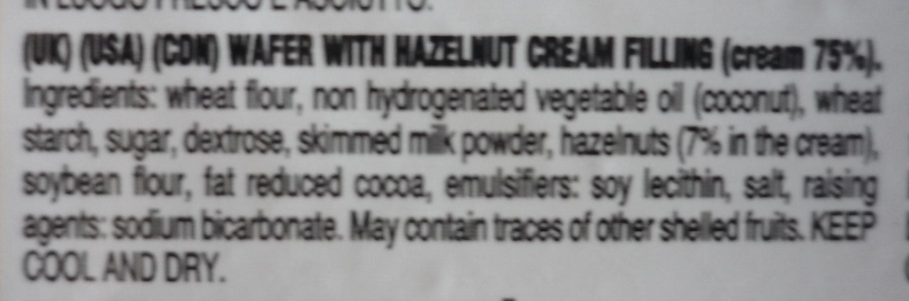 Wafers alla Nocciola - Ingredients