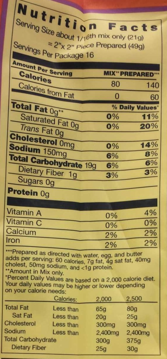 Cornbread & muffin mix - Nutrition facts - en