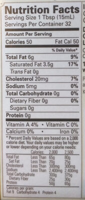 Organic Pasture-Raised Heavy Whipping Cream - Nutrition facts