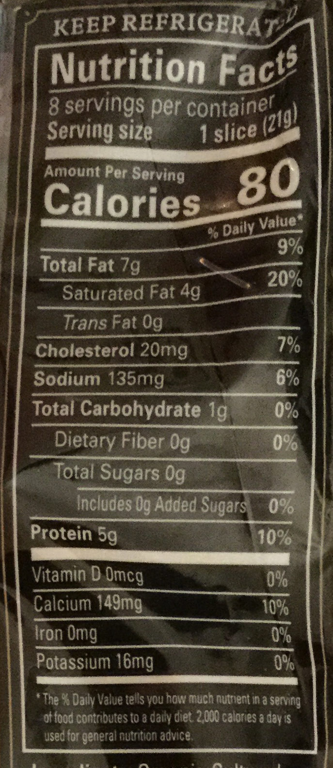 Cheese Deli Slices, Mild Cheddar - Nutrition facts
