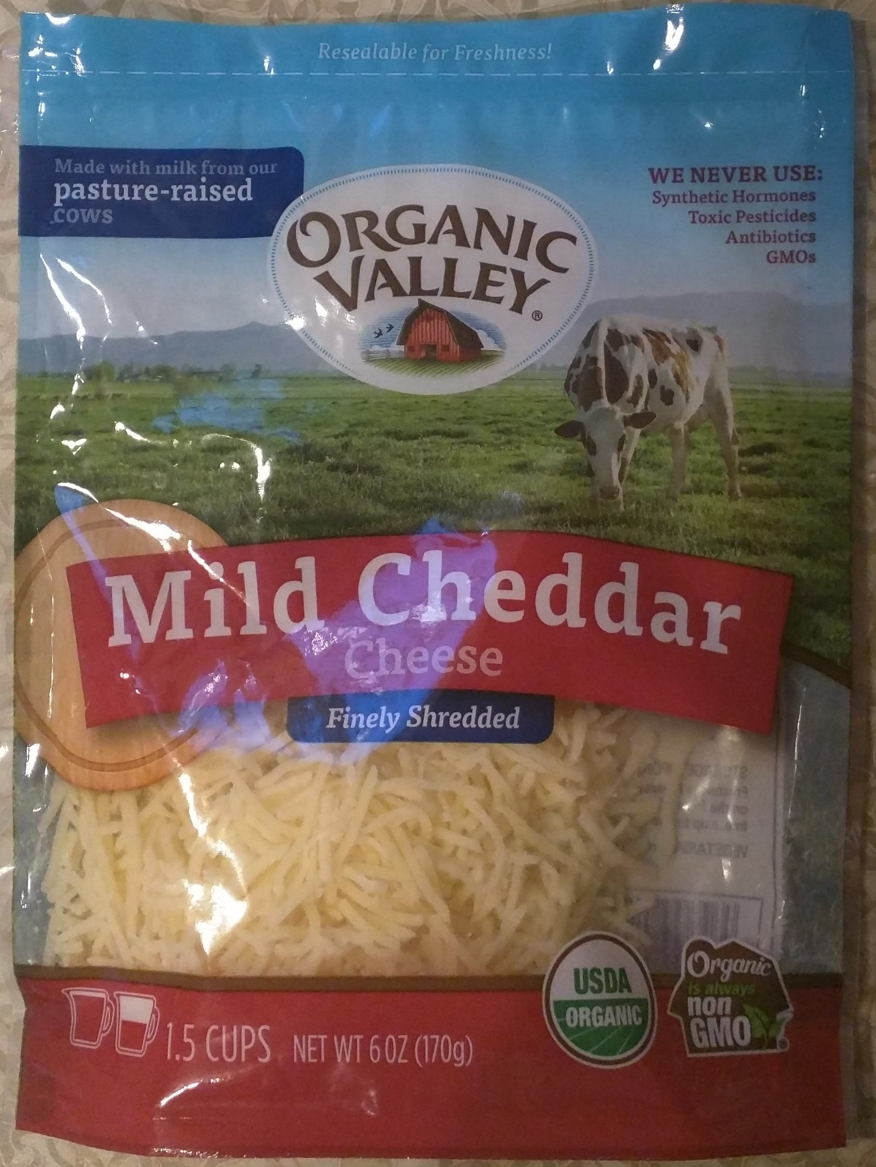 Organic valley, shredded cheddar cheese, mild - Product - en