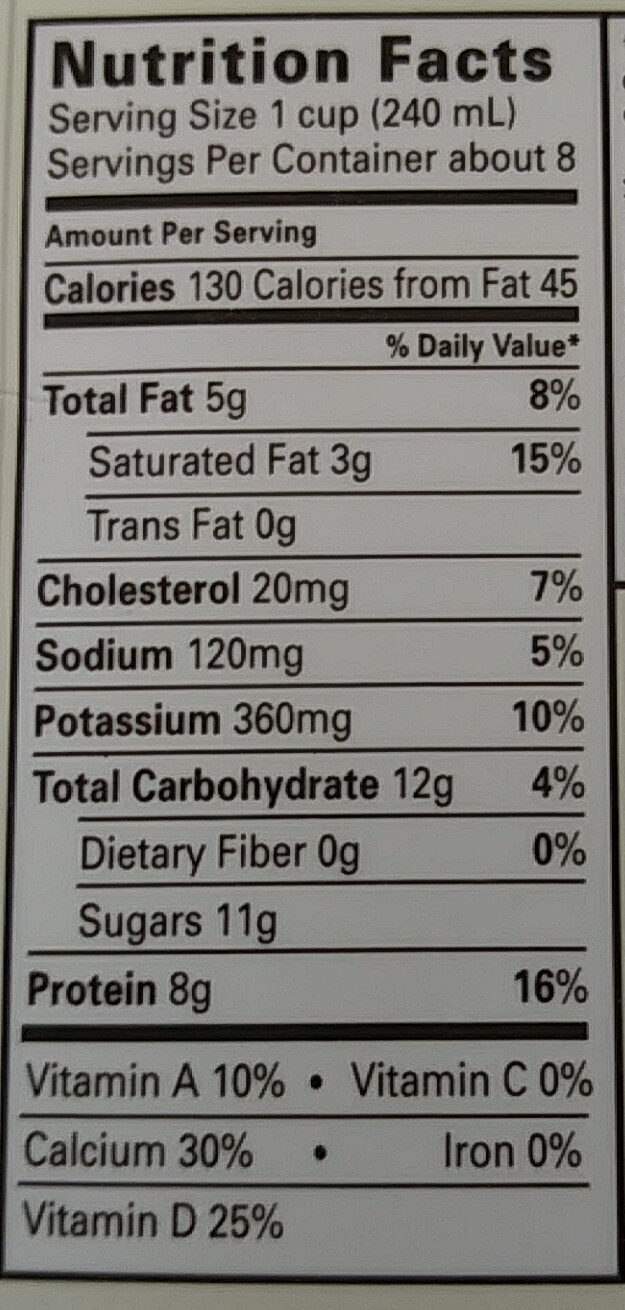 2% Reduced Fat Milk - Nutrition facts