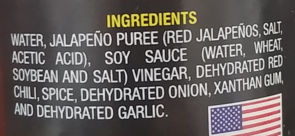 Chaka's Mystery Hot Sauce - Ingredients
