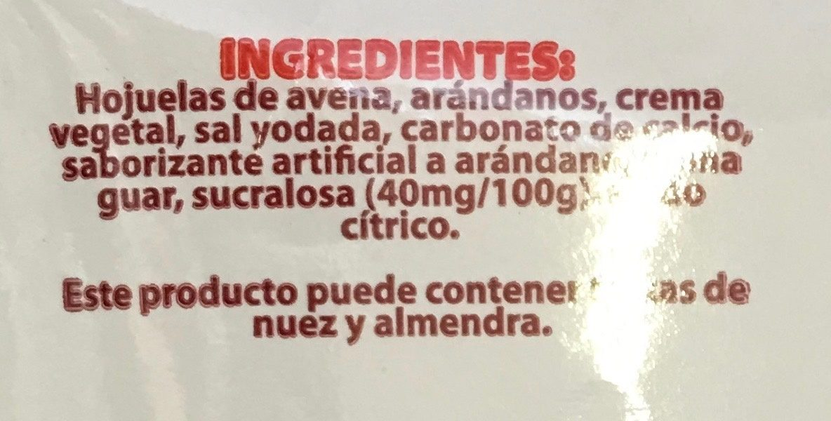 AVENA INSTANTANEA INTEGRAL CON ARANDANOS - Ingredients - es