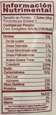 AVENA INSTANTANEA INTEGRAL CON ARANDANOS - Nutrition facts - es