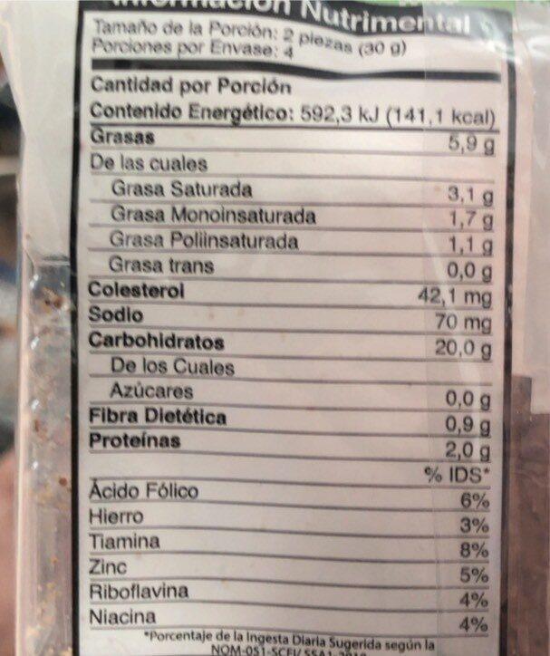 Galletas de trigo y avena - Voedingswaarden - fr