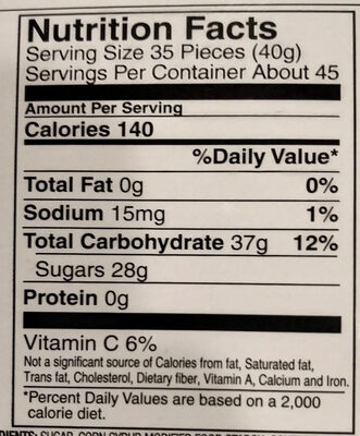 Jelly Belly - Nutrition facts