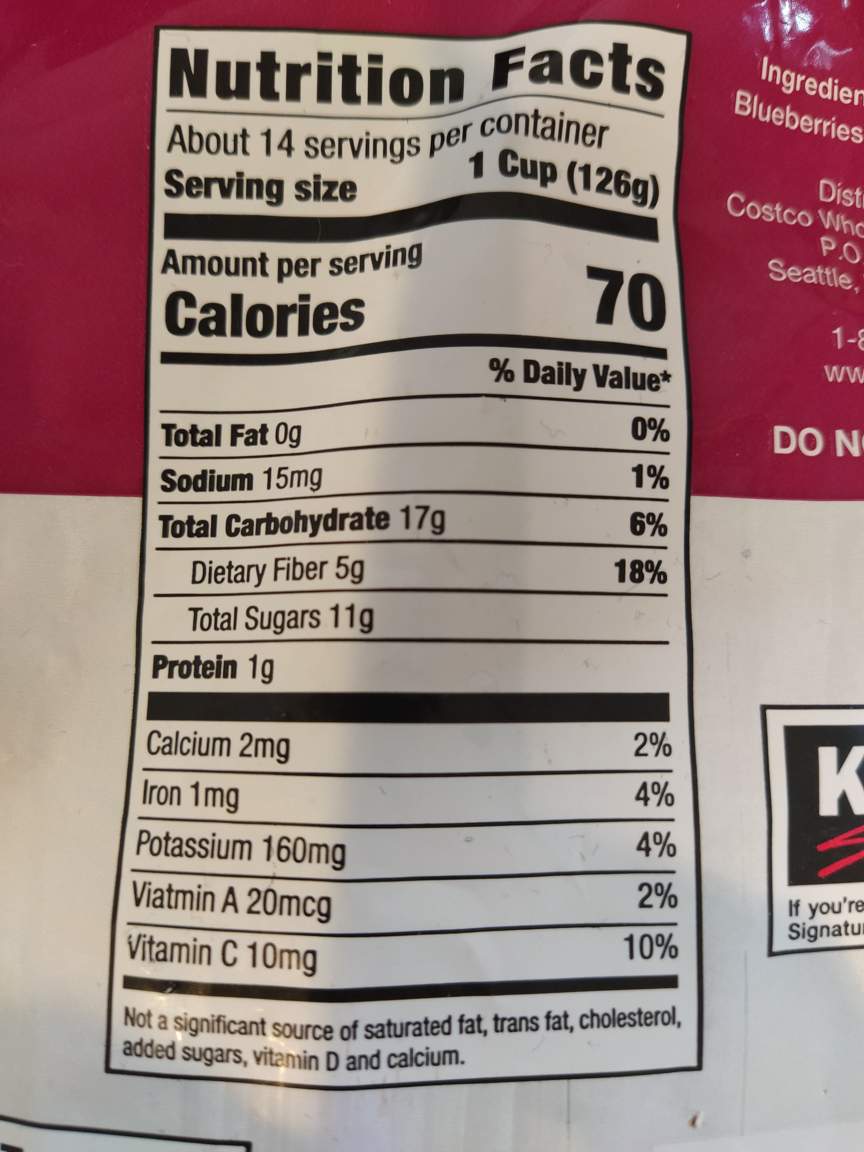 Three Berry Blend - Nutrition facts - en