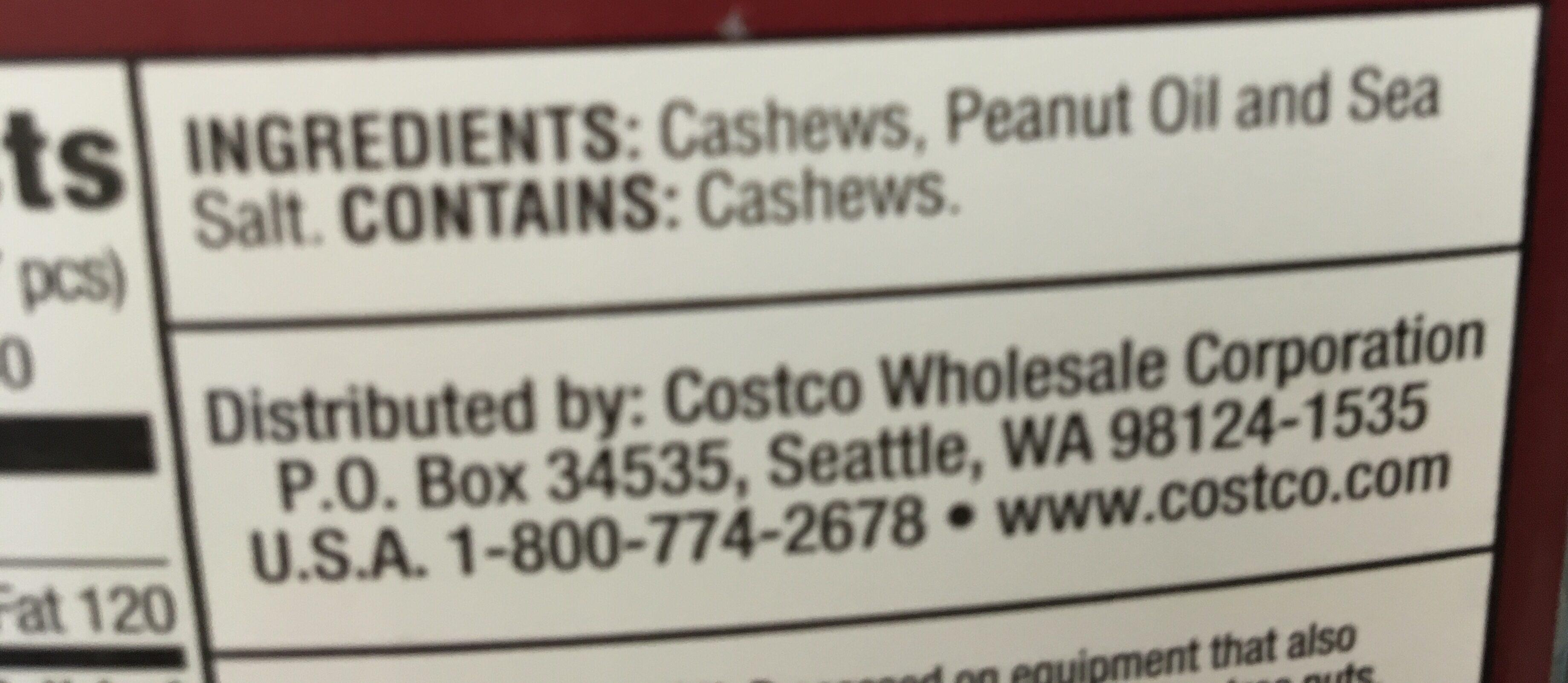 Whole cashews - Ingredients - en