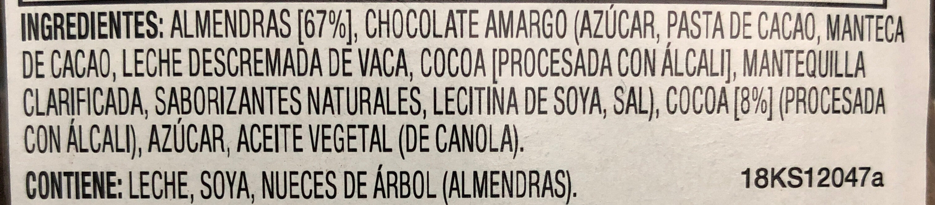 Almendras Espolvoreadas de Cocoa - Ingredients - es