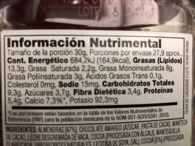 Almendras Espolvoreadas de Cocoa - Información nutricional - es
