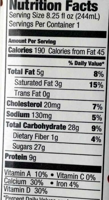 Organic Chocolate Reduced Fat Milk - Kirkland Signature