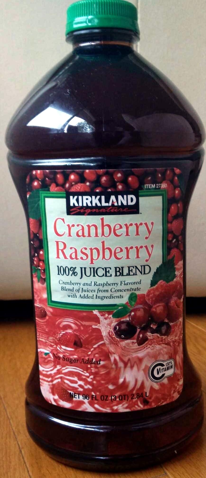 cranberry raspberry 100% juice blend - kirkland signature - 96 fl oz