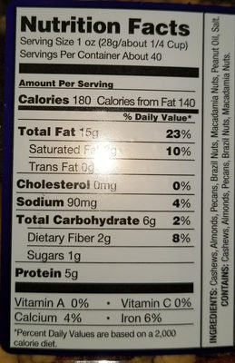 Extra Fancy Mixed Nuts - Nutrition facts