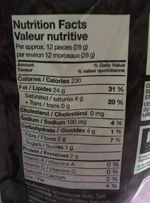 MACADAMIA NUTS - Nutrition facts - en