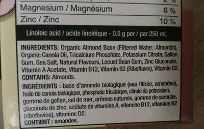 Boisson d'amandes - Ingrédients - fr