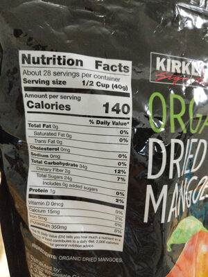 Organic dried mangoes - Ingredients