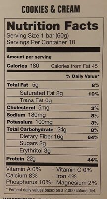 Cookies and Cream Protein Bar - Nutrition facts - en