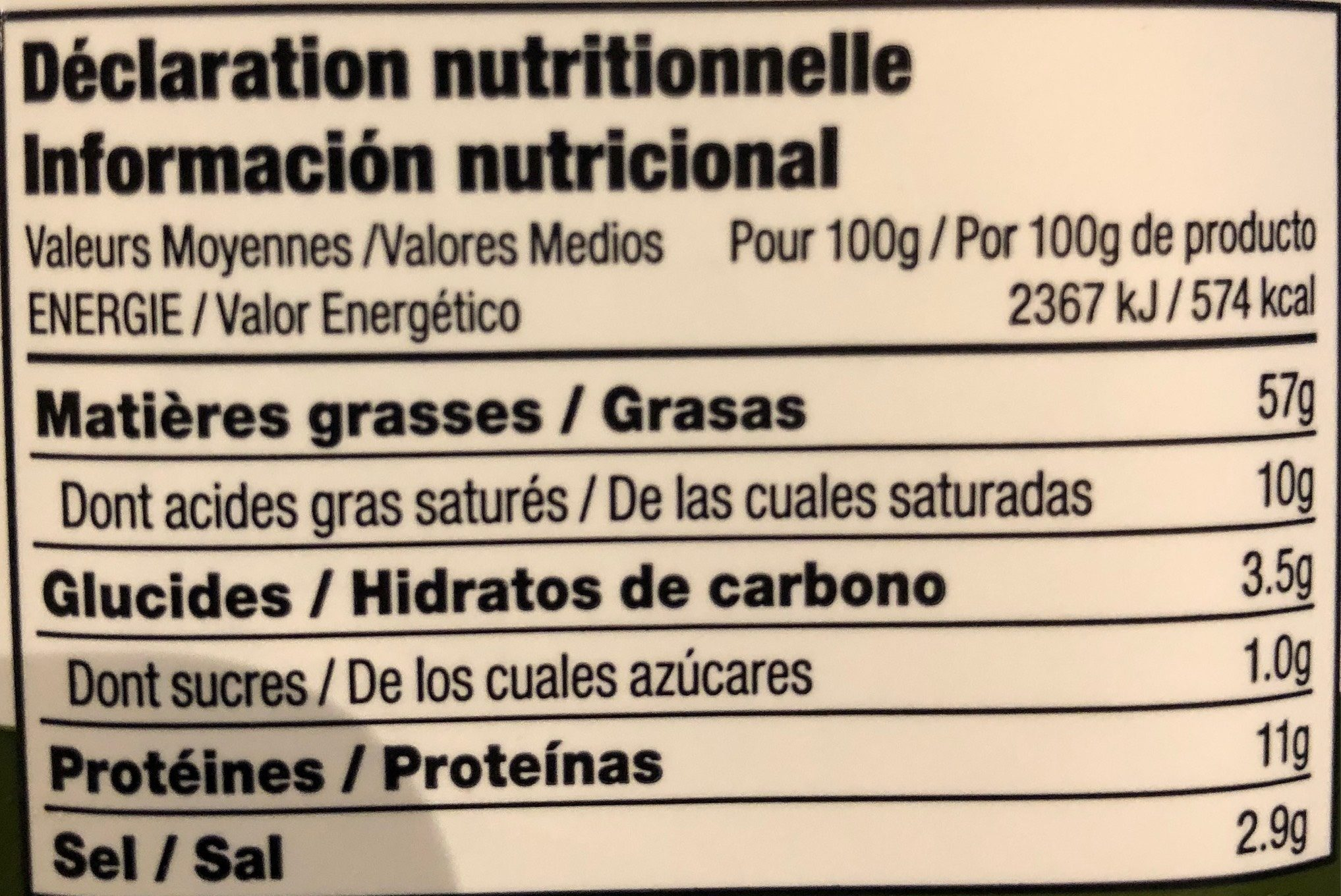 Pesto au basilic - Nutrition facts