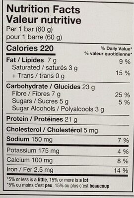 Barre protéinée - Información nutricional - fr