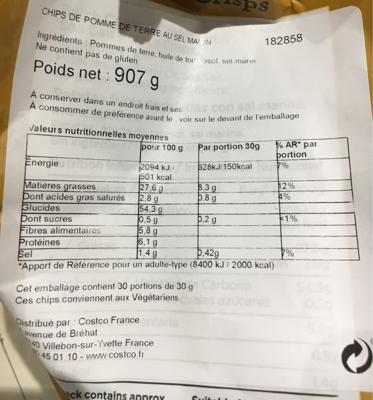 Chips - Nutrition facts