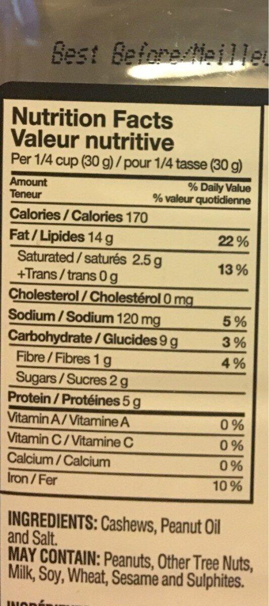 Cashews - Nutrition facts - en