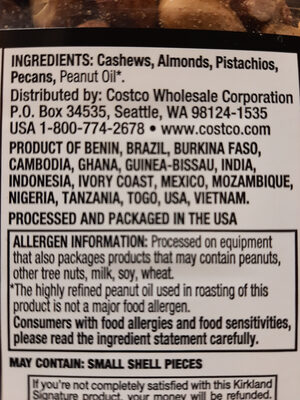 Unsalted Mixed Nuts - Ingredients - en