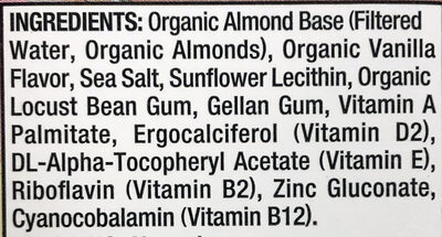 Organic unsweetened almond vanilla - Ingredients