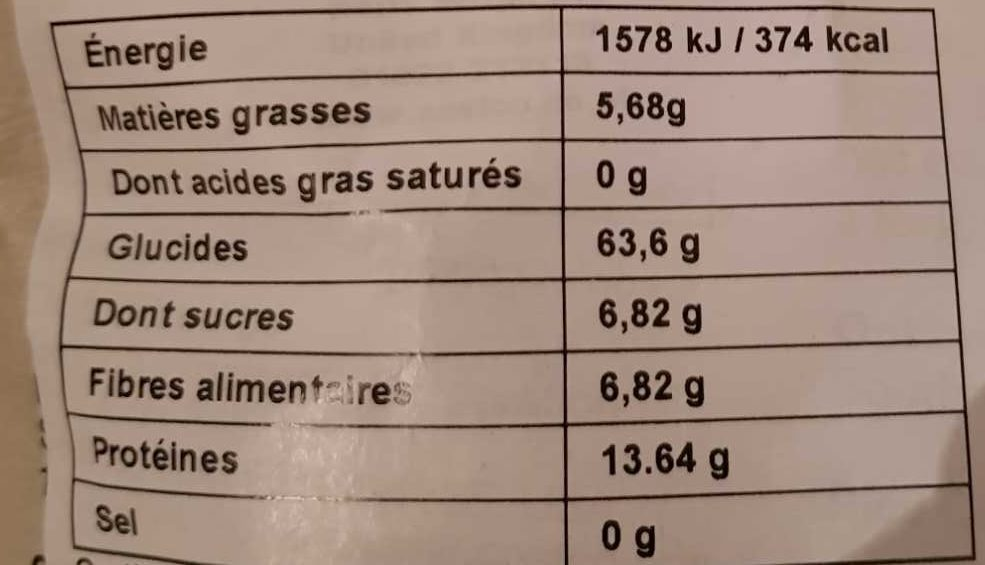 Quinoa Bio - 栄養成分表 - fr