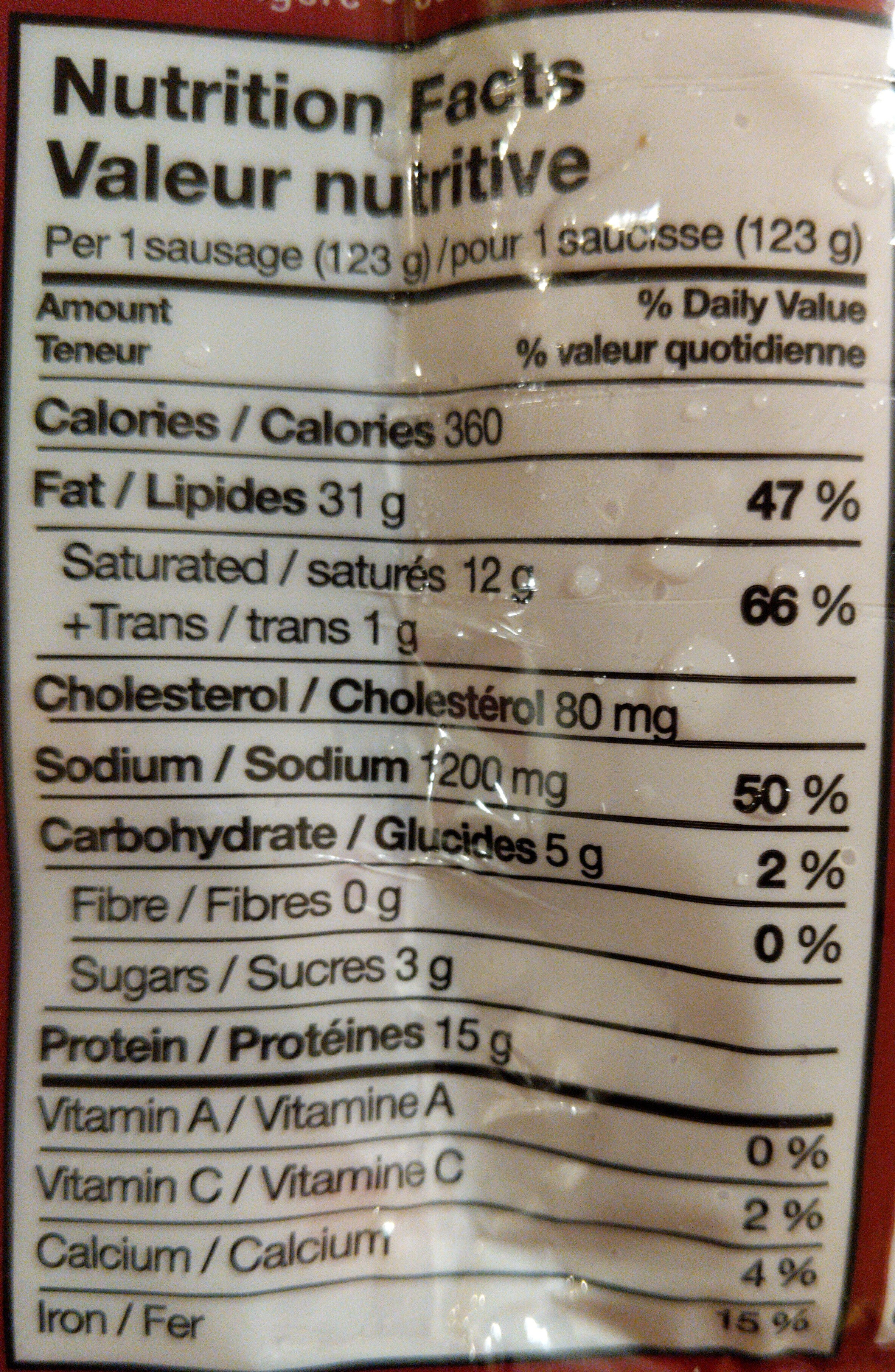 Beef Polish Sausages - Nutrition facts - en