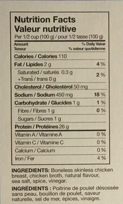 Languettes de poitrine de Poulet grillées - Ingredients - fr