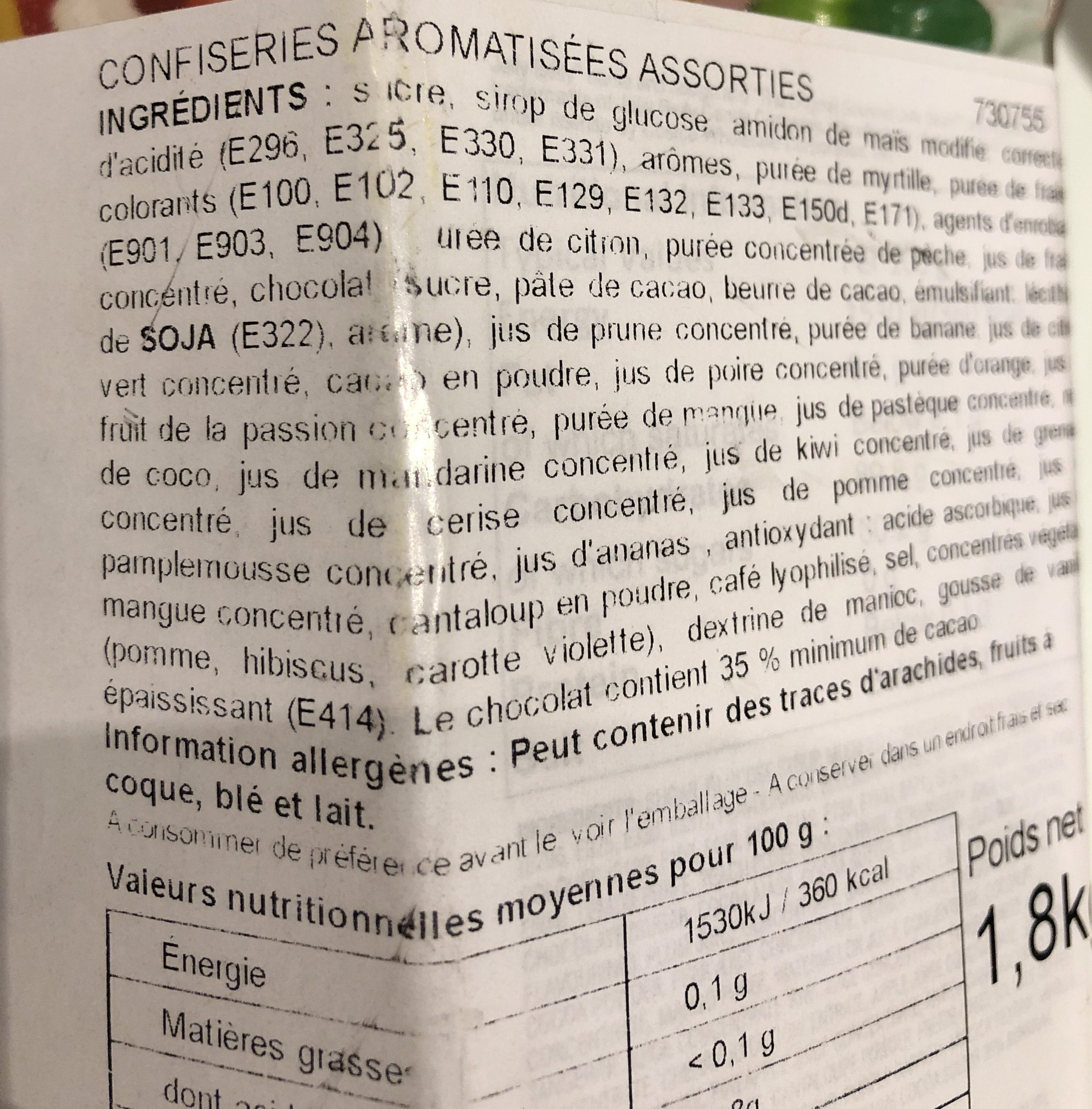 American Jelly Belly 45 Flavour Jar - 1.8KG - Ingredientes