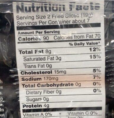 Bacon - Valori nutrizionali - en