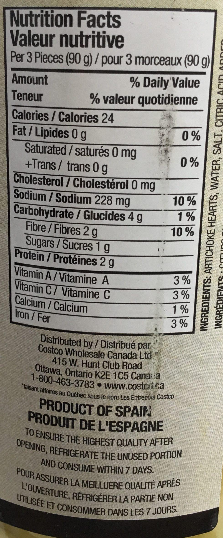 Cœurs d'artichauts - Nutrition facts - fr