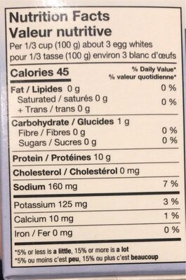 Blanc d'oeuf - Nutrition facts - fr