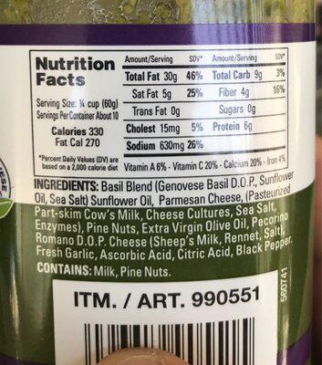 Basil Pesto - Nutrition facts